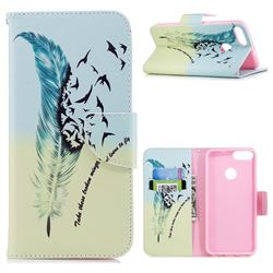 Feather Bird Leather Wallet Case for Huawei P Smart(Enjoy 7S)