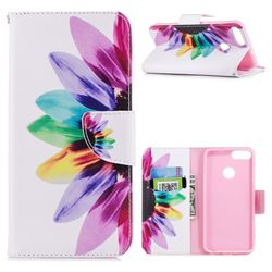 Seven-color Flowers Leather Wallet Case for Huawei P Smart(Enjoy 7S)