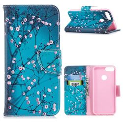 Blue Plum Leather Wallet Case for Huawei P Smart(Enjoy 7S)