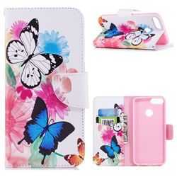 Vivid Flying Butterflies Leather Wallet Case for Huawei P Smart(Enjoy 7S)
