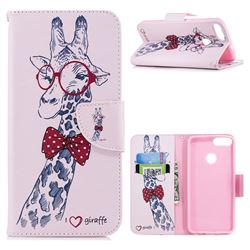 Glasses Giraffe Leather Wallet Case for Huawei P Smart(Enjoy 7S)