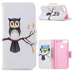 Owl on Tree Leather Wallet Case for Huawei P Smart(Enjoy 7S)
