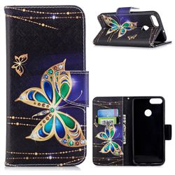 Golden Shining Butterfly Leather Wallet Case for Huawei P Smart(Enjoy 7S)