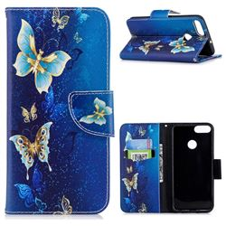 Golden Butterflies Leather Wallet Case for Huawei P Smart(Enjoy 7S)