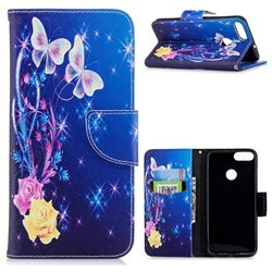 Yellow Flower Butterfly Leather Wallet Case for Huawei P Smart(Enjoy 7S)