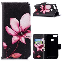 Lotus Flower Leather Wallet Case for Huawei P Smart(Enjoy 7S)