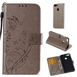 Embossing Butterfly Flower Leather Wallet Case for Huawei P Smart(Enjoy 7S) - Grey