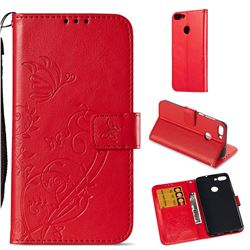 Embossing Butterfly Flower Leather Wallet Case for Huawei P Smart(Enjoy 7S) - Red