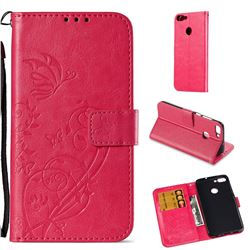 Embossing Butterfly Flower Leather Wallet Case for Huawei P Smart(Enjoy 7S) - Rose