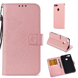 Embossing Butterfly Flower Leather Wallet Case for Huawei P Smart(Enjoy 7S) - Pink