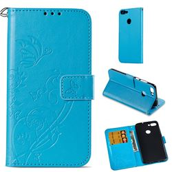 Embossing Butterfly Flower Leather Wallet Case for Huawei P Smart(Enjoy 7S) - Blue