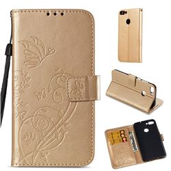 Embossing Butterfly Flower Leather Wallet Case for Huawei P Smart(Enjoy 7S) - Champagne