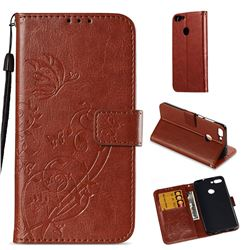 Embossing Butterfly Flower Leather Wallet Case for Huawei P Smart(Enjoy 7S) - Brown