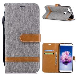 Jeans Cowboy Denim Leather Wallet Case for Huawei P Smart(Enjoy 7S) - Gray