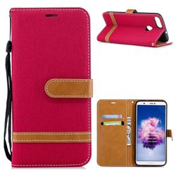 Jeans Cowboy Denim Leather Wallet Case for Huawei P Smart(Enjoy 7S) - Red