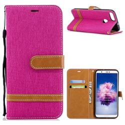 Jeans Cowboy Denim Leather Wallet Case for Huawei P Smart(Enjoy 7S) - Rose