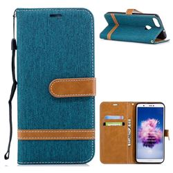 Jeans Cowboy Denim Leather Wallet Case for Huawei P Smart(Enjoy 7S) - Green