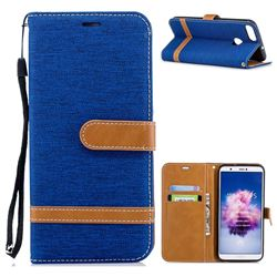 Jeans Cowboy Denim Leather Wallet Case for Huawei P Smart(Enjoy 7S) - Sapphire