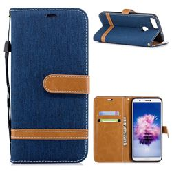 Jeans Cowboy Denim Leather Wallet Case for Huawei P Smart(Enjoy 7S) - Dark Blue