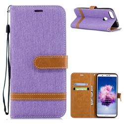 Jeans Cowboy Denim Leather Wallet Case for Huawei P Smart(Enjoy 7S) - Purple