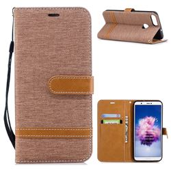 Jeans Cowboy Denim Leather Wallet Case for Huawei P Smart(Enjoy 7S) - Brown