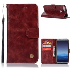 Luxury Retro Leather Wallet Case for Huawei P Smart(Enjoy 7S) - Wine Red