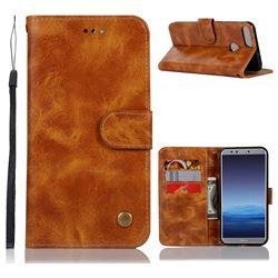 Luxury Retro Leather Wallet Case for Huawei P Smart(Enjoy 7S) - Golden