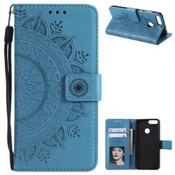 Intricate Embossing Datura Leather Wallet Case for Huawei P Smart(Enjoy 7S) - Blue