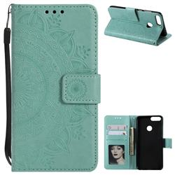 Intricate Embossing Datura Leather Wallet Case for Huawei P Smart(Enjoy 7S) - Mint Green