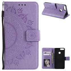 Intricate Embossing Datura Leather Wallet Case for Huawei P Smart(Enjoy 7S) - Purple