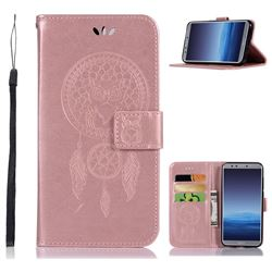 Intricate Embossing Owl Campanula Leather Wallet Case for Huawei P Smart(Enjoy 7S) - Rose Gold