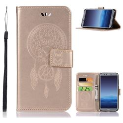 Intricate Embossing Owl Campanula Leather Wallet Case for Huawei P Smart(Enjoy 7S) - Champagne