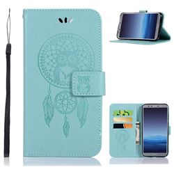 Intricate Embossing Owl Campanula Leather Wallet Case for Huawei P Smart(Enjoy 7S) - Green