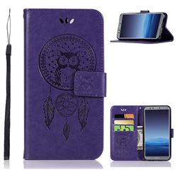 Intricate Embossing Owl Campanula Leather Wallet Case for Huawei P Smart(Enjoy 7S) - Purple