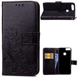 Embossing Imprint Four-Leaf Clover Leather Wallet Case for Huawei P Smart(Enjoy 7S) - Black