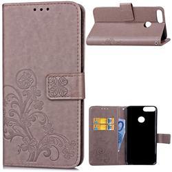 Embossing Imprint Four-Leaf Clover Leather Wallet Case for Huawei P Smart(Enjoy 7S) - Grey