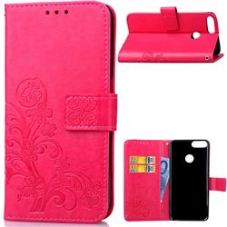 Embossing Imprint Four-Leaf Clover Leather Wallet Case for Huawei P Smart(Enjoy 7S) - Rose
