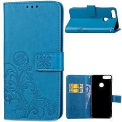 Embossing Imprint Four-Leaf Clover Leather Wallet Case for Huawei P Smart(Enjoy 7S) - Blue