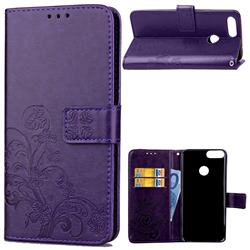 Embossing Imprint Four-Leaf Clover Leather Wallet Case for Huawei P Smart(Enjoy 7S) - Purple