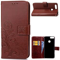 Embossing Imprint Four-Leaf Clover Leather Wallet Case for Huawei P Smart(Enjoy 7S) - Brown
