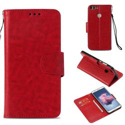 Retro Phantom Smooth PU Leather Wallet Holster Case for Huawei P Smart(Enjoy 7S) - Red