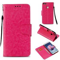 Retro Phantom Smooth PU Leather Wallet Holster Case for Huawei P Smart(Enjoy 7S) - Rose