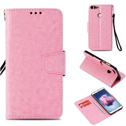 Retro Phantom Smooth PU Leather Wallet Holster Case for Huawei P Smart(Enjoy 7S) - Pink