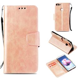 Retro Phantom Smooth PU Leather Wallet Holster Case for Huawei P Smart(Enjoy 7S) - Rose Gold