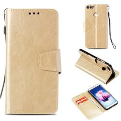 Retro Phantom Smooth PU Leather Wallet Holster Case for Huawei P Smart(Enjoy 7S) - Champagne