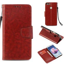 Retro Phantom Smooth PU Leather Wallet Holster Case for Huawei P Smart(Enjoy 7S) - Brown