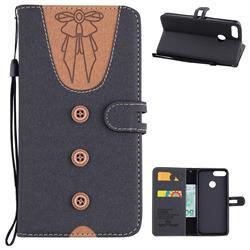Ladies Bow Clothes Pattern Leather Wallet Phone Case for Huawei P Smart(Enjoy 7S) - Black