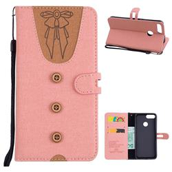 Ladies Bow Clothes Pattern Leather Wallet Phone Case for Huawei P Smart(Enjoy 7S) - Pink