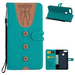 Ladies Bow Clothes Pattern Leather Wallet Phone Case for Huawei P Smart(Enjoy 7S) - Green