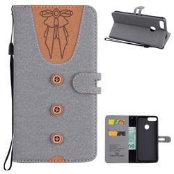Ladies Bow Clothes Pattern Leather Wallet Phone Case for Huawei P Smart(Enjoy 7S) - Gray